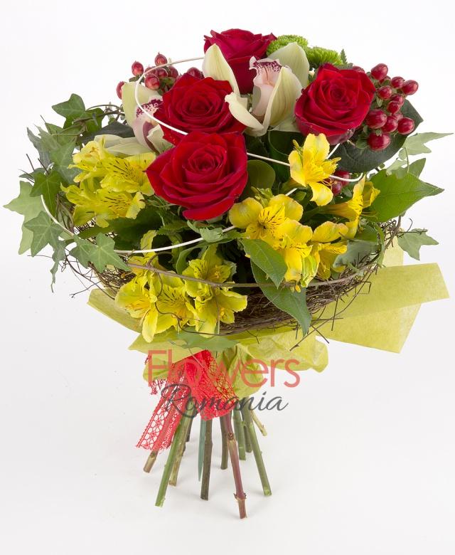5 red roses, 3 yellow alstroemeria, 3 red hypericum, 1 green santini, 1 green cymbidium, greenery