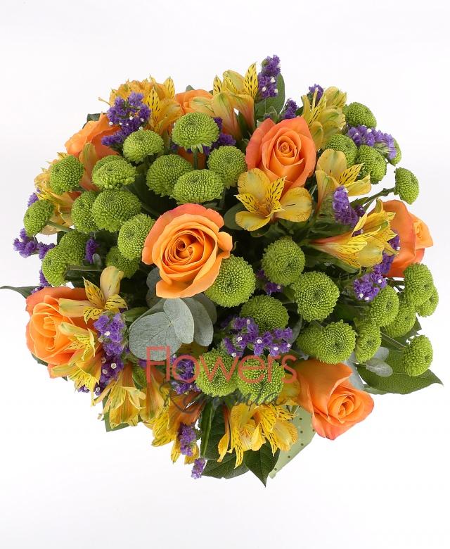 9 orange roses, 6 green santini, 7 orange alstroemeria, greenery