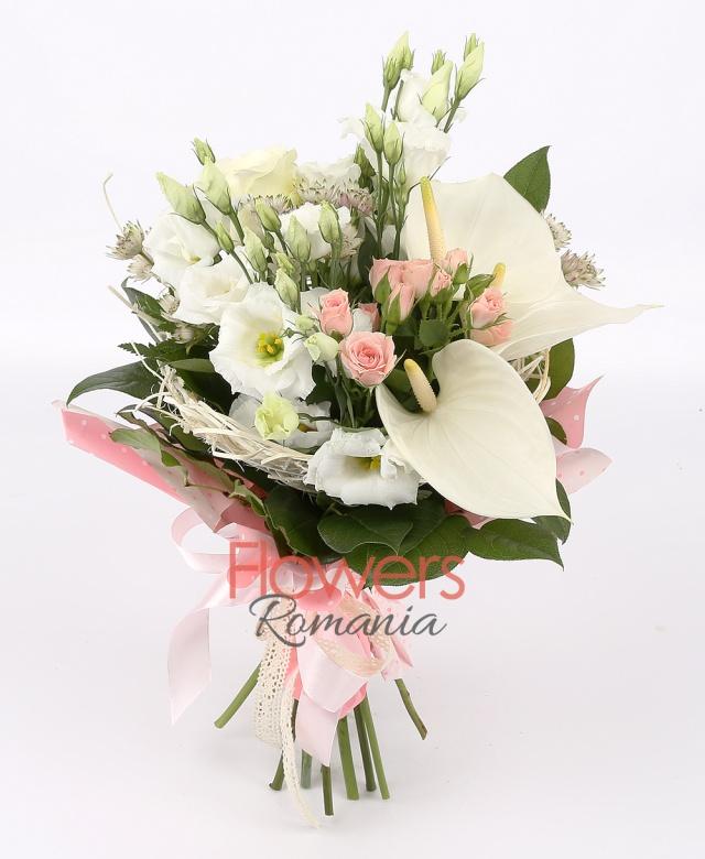 3 white anthurium, 3 pink miniroze, 3 white lisianthus, 3 white roses, greenery