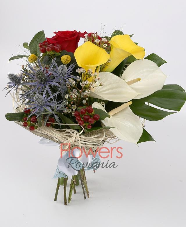 3 red roses, 3 white anthurium, 2 yellow cala, 3 red hypericum, 1 eryngium, 3 craspedia, greenery