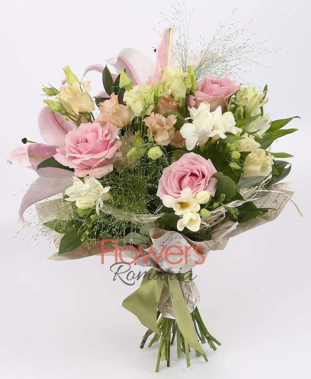 1 pink lily, 3 pink roses, 3 white alstroemeria, 3 pink lisianthus, 5 white freesias, greenery