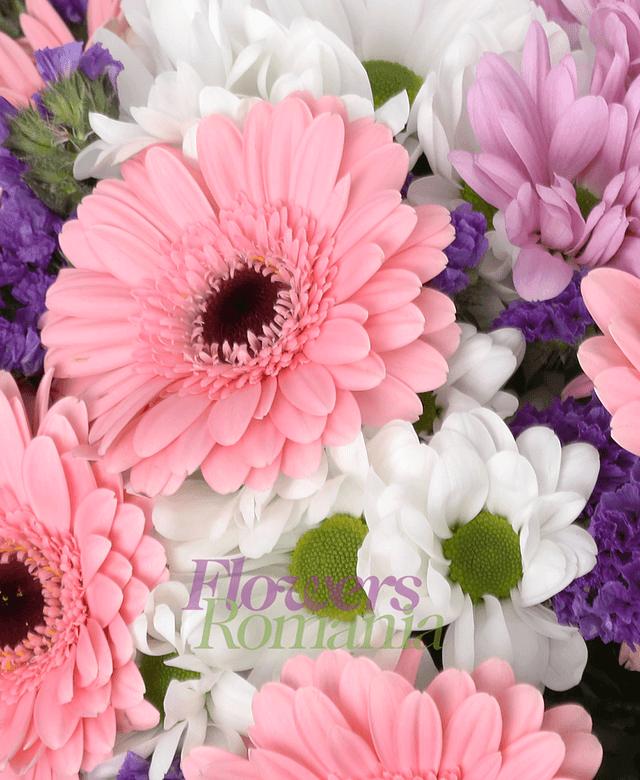7 pink gerbera, 3 white chrysanthemums, 3 pink chrysanthemums, limonium, greenery