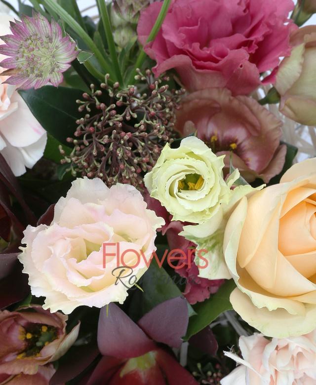 5 trandafiri banan, 5 garoafe crem, 3 lisianthus maro, 2 lisianthus roz, 2 astranția roșie, 3 leucadendron, 2 schimia, cuib