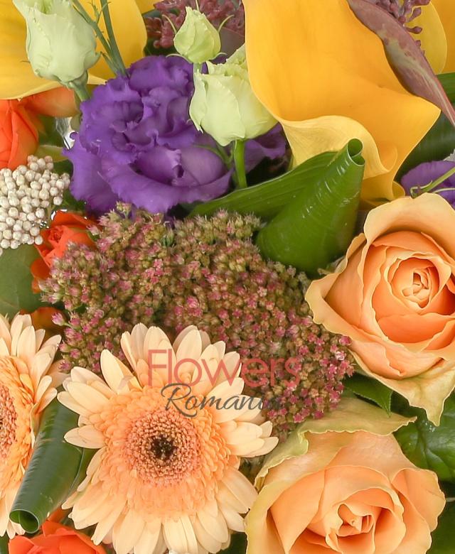 3 orange roses, 2 orange miniroses, 4 yellow cala, 1 purple lisianthus, 2 gerbera, 2 rice flower, greenery
