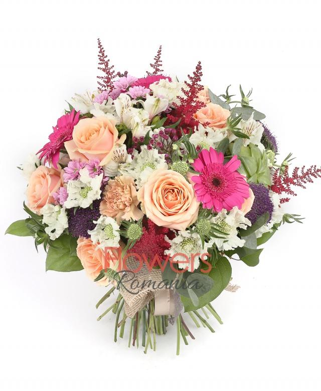 7 orange roses, 3 cyclam  gerberas, 3 cappuccino  carnations, 5 red astilbe, 3 purple chrysanthemums,  purple santini, 3 purple trachelium , 2 white alstroemeria, greenery