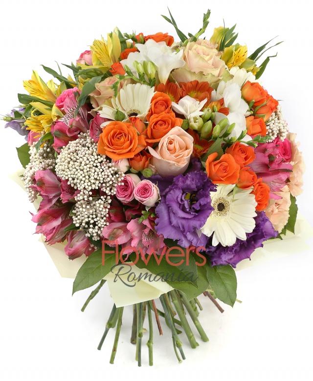 5 orange miniroses, 5 cream roses, 5 cappuccino carnations, 3 red alstroemeria, 3 yellow alstroemeria , 2 rice flower, 5 white gerbera, 2 purple lisianthus, 5 white freesia, greenery