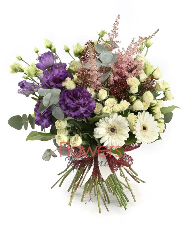 7 white miniroses, 3 white gerberas, 2 green anthuriums, 3 purple lisianthus, 5 pink astilbe, 3 red schimia, greenery