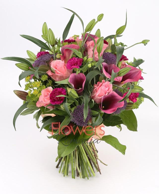 9 pink roses, 9 cala, 10 purple carnations, 5 bupleurum, 3 lilies, 5 purple trachelium, 5 white alstroemeria, greenery