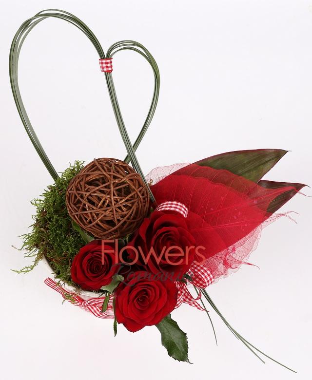 3 red roses, 1 branch ball, moss, beargrass