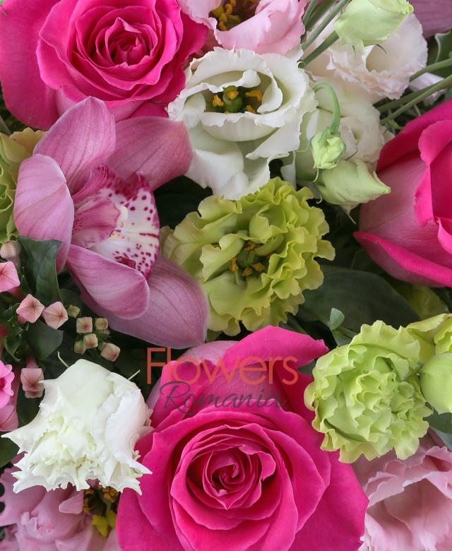 7 trandafiri ciclam, 5 lisianthus verde, 3 lisianthus roz, 5 garoafe roz, 3 bouvardia roz, 5 santini roz, 5 orhidee grena, 2 anthurium verde, 3 schimia roșie, 10 salal, cuib