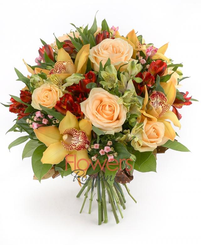 5 roses, 7 yellow cymbidium, 5 yellow alstroemeria, 5 red alstroemeria, 5 bouvardia, greenery