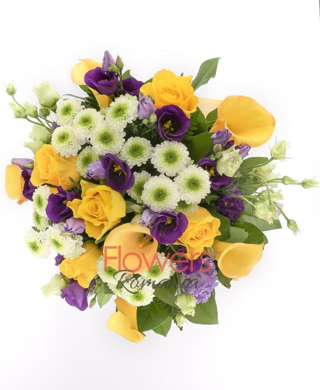 6 yellow cala, 5 white santini, 5 yellow roses, 5 purple lisianthus, greenery