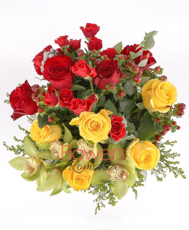 green cymbidium, 5 yellow roses, 3 solidago, 2 red miniroses, 5 red rose, 1 burinia, greenery