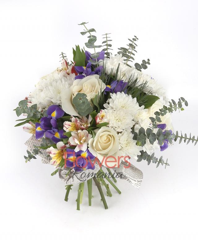 7 purple iris, 5 roses, 3 white alstroemeria, 5 white chrysanthemums, greenery