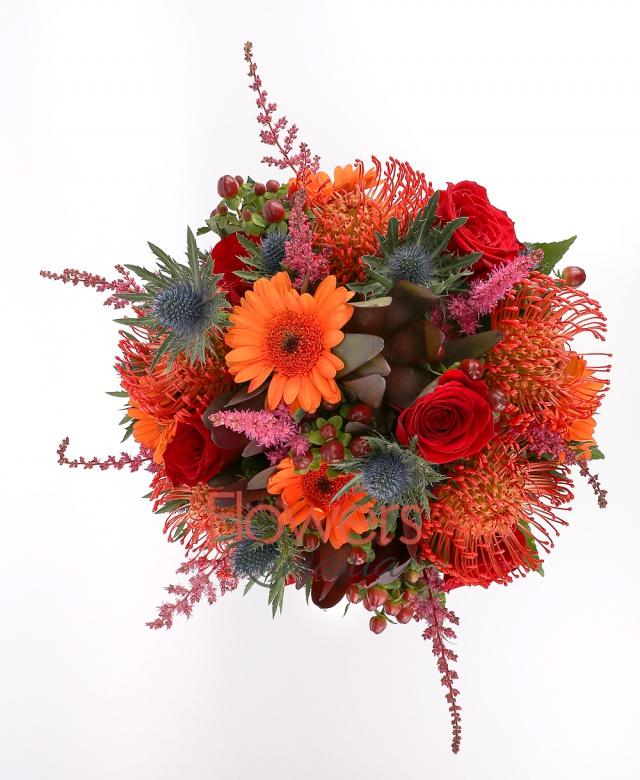 4 roses, 8 red astilbe, 3 red leucadendron, 5 red leucospermum, 5 orange gerbera, 7 hypericum, greenery
