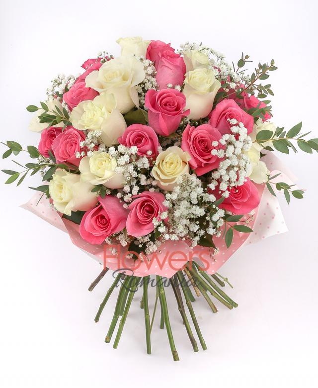 13 white roses, 18 pink roses, greenery