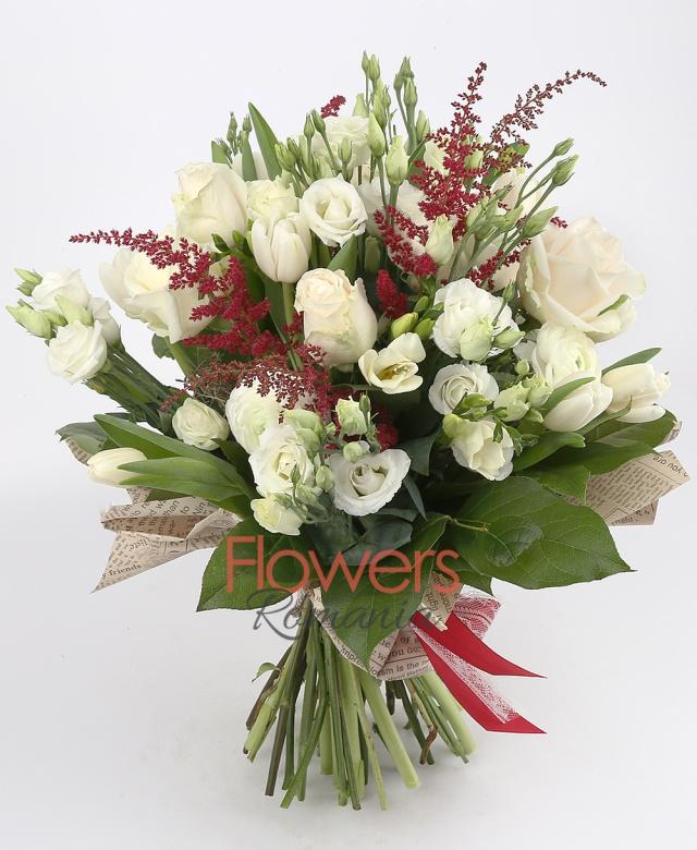 9 white roses, 10 white tulips, 10 white freesia, 8 lisianthus, 6 astilbe, greenery