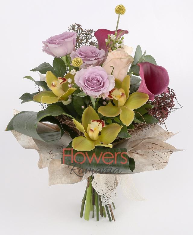 3 purple roses, 2 cream roses, 3 red cala, cymbidium, white waxflower, greenery