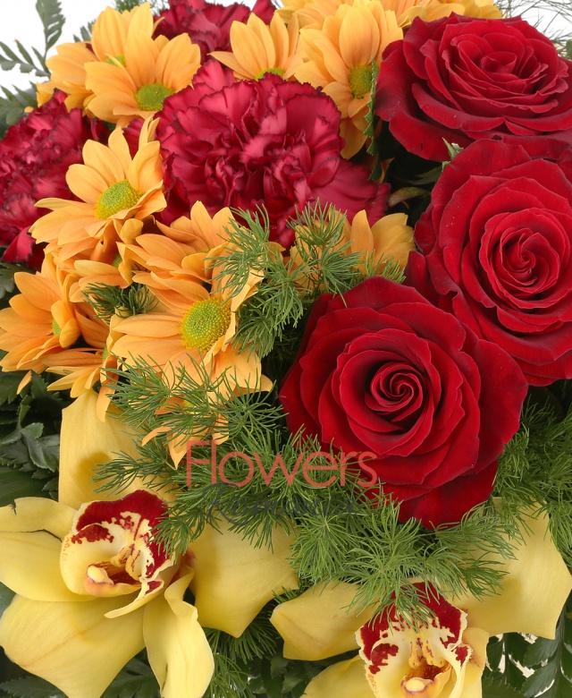 5 trandafiri rosii, 3 crizanteme portocalii, 1 cymbidium galben, 3 miniroze crem, 3 garoafe grena, asparagus, ferigă, aspidistra
