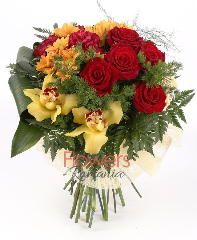 5 red roses, 3 orange chrysanthemums, 1 yellow cymbidium, 3 cream miniroses, 3 burgundy carnations, greenery