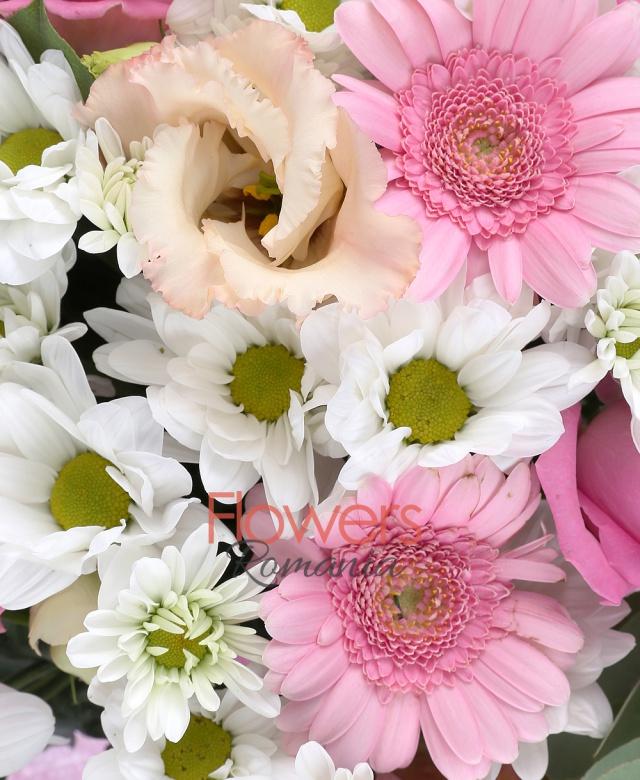 5 crizanteme albe, 5 trandafiri roz, 6 gerbera roz, 3 lisianthus roz, 5 eucalypt