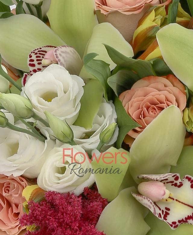 5 lisianthus alb, 7 trandafiri cappuccino, 5 alstroemeria galbenă, 5 cupe orhidee cymbidium verzi, 5 astilbe rosii, 5 salal