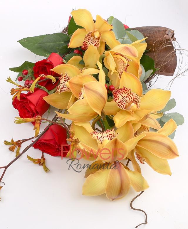 cymbidium, 3 red rose, 3 red hypericum, greenery
