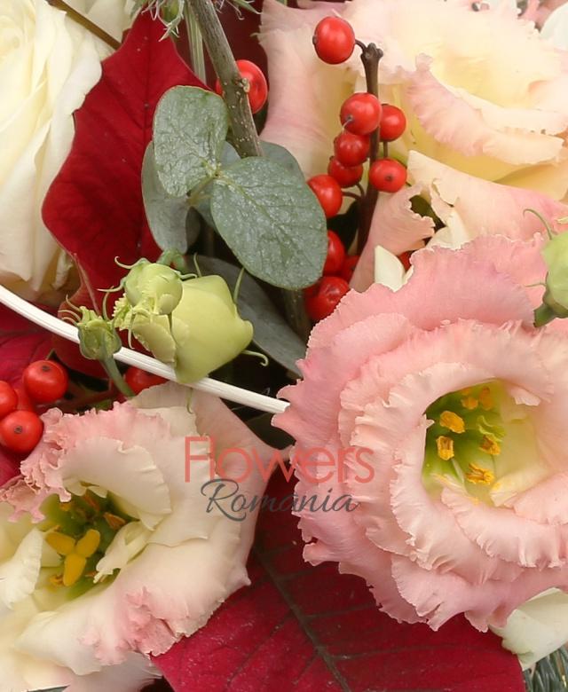 3 trandafiri albi, 1 cymbidium grena, 3 lisianthus roz, ilex, eryngium, poisentia, brad, curly, vas ceramic