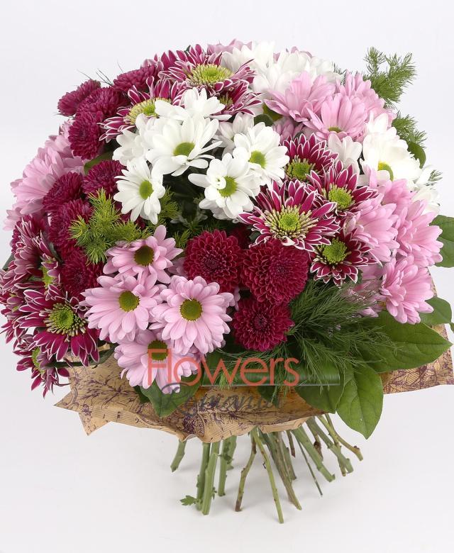 4 purple chrysanthemums, 3 pink chrysanthemums , 3 white chrysanthemums, 3 burgundy santini, greenery