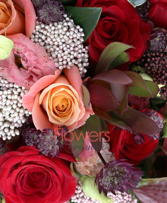 3 hortensii rosii, 5 trandafiri rosii, 4 trandafiri portocalii, 5 leucadendron rosii, 5 floare de orez, 5 astranția rosii, 2 schimia, 1 anthurium roșu, 2 black tide