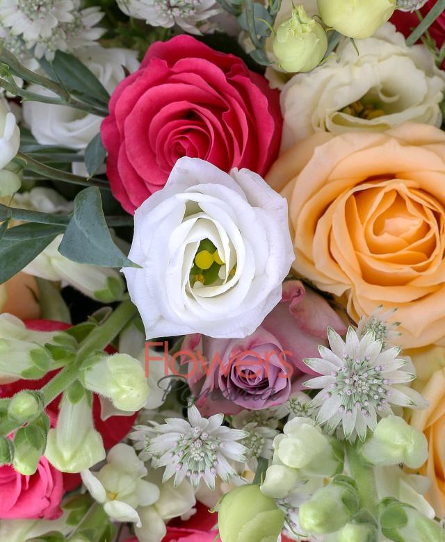9 trandafiri crem, 6 trandafiri ciclam, 10 gura leului albe, 5 lisianthus alb, 5 lisianthus crem, 6 trandafiri mov, 10 astranția alba, salal