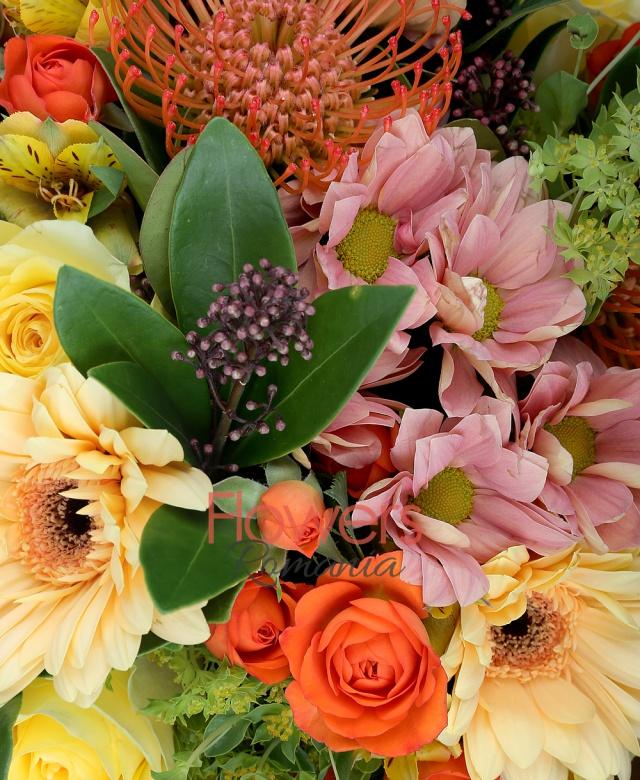 3 trandafiri galbeni, 3 crizanteme crem, 5 alstroemeria galbene, 3 miniroze portocalii, 3 gerbera galbene, 3 leucospermum, 3 schimia, 5 bupleurum, salal