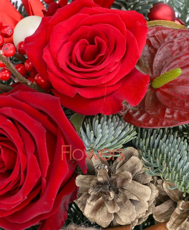 3 trandafiri rosii, 2 ilex, 2 anthurium roșu, conuri, brad, scorțișoară, globuri, vas ceramic