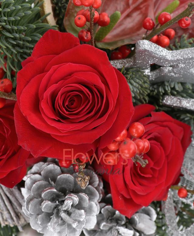 3 trandafiri rosii, conuri brad, globuri, steluțe, ilex, 2 anthurium roșu, felii lămâi uscate, 2 legătura crengi uscate, brad, vas ceramic