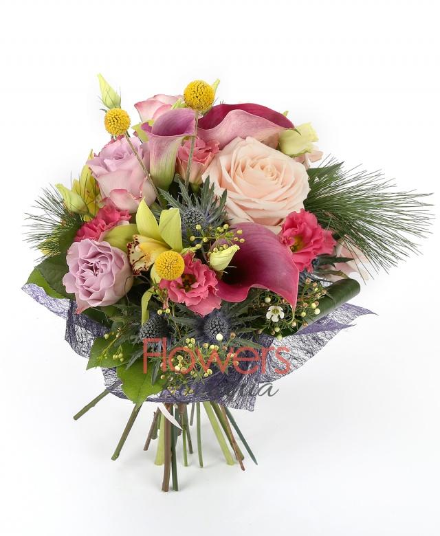 3 cyclam cala, green cymbidium, 3 pink lisianthus, 3 purple roses, 3 roses, eryngium 3 craspedia, greenery