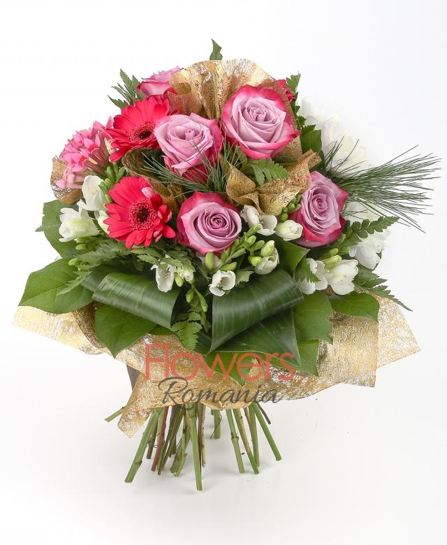3 cyclam gerbera, 5 purple roses, 3 pink bouvardia, 2 chrysanthemums, 10 white freesia, greenery