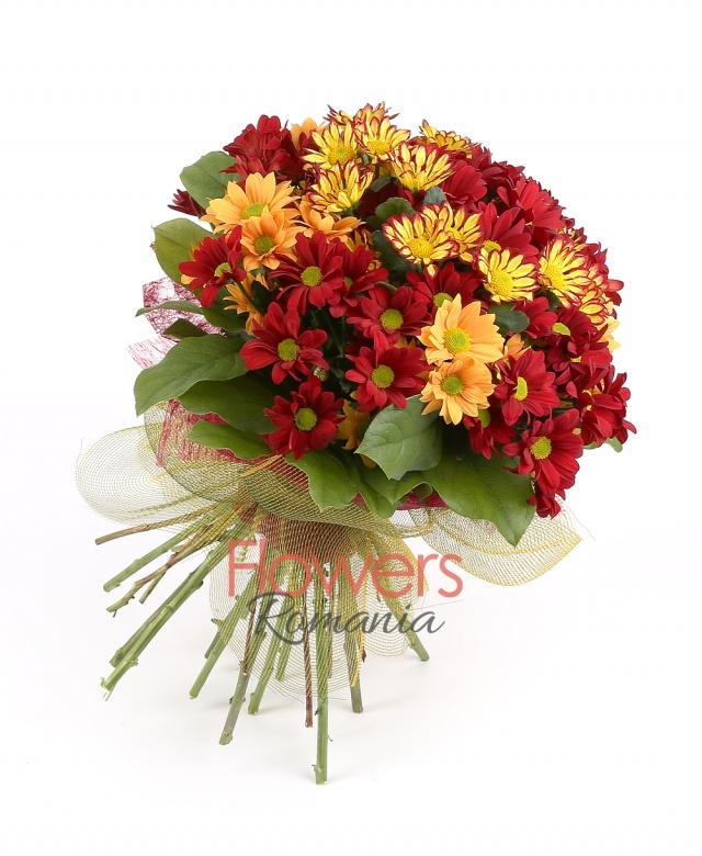 3 yellow chrysanthemums, 3 orange chrysanthemums, 3 burgundy chrysanthemums, greenery