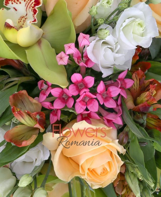 9 trandafiri banan, 5 bouvardia roz, 5 lisianthus alb, 7 alstroemeria portocalie, 7 cupe orhidee cymbidium verzi, salal