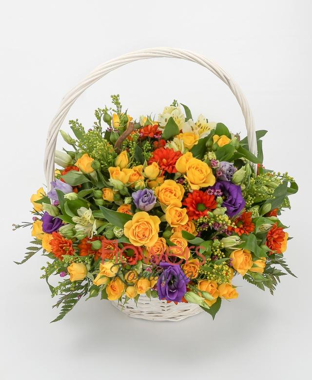 10 yellow miniroses, 5 orange santini, 5 yellow alstroemeria, 3 purple lisianthus, greenery