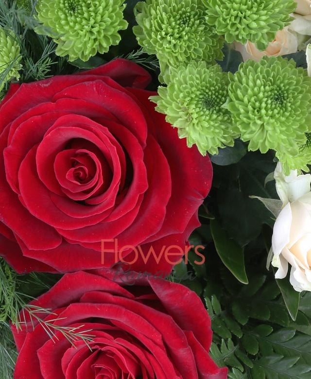 3 red roses, 3 cream miniroses, 5 green santini, solidago, greenery