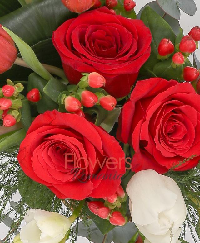 5 lalele roșii, 3 trandafiri, 3 frezii albe, 2 lalele albe, 2 fire hypericum roșu, 2 aspidistra, salal, eucalypt, coș