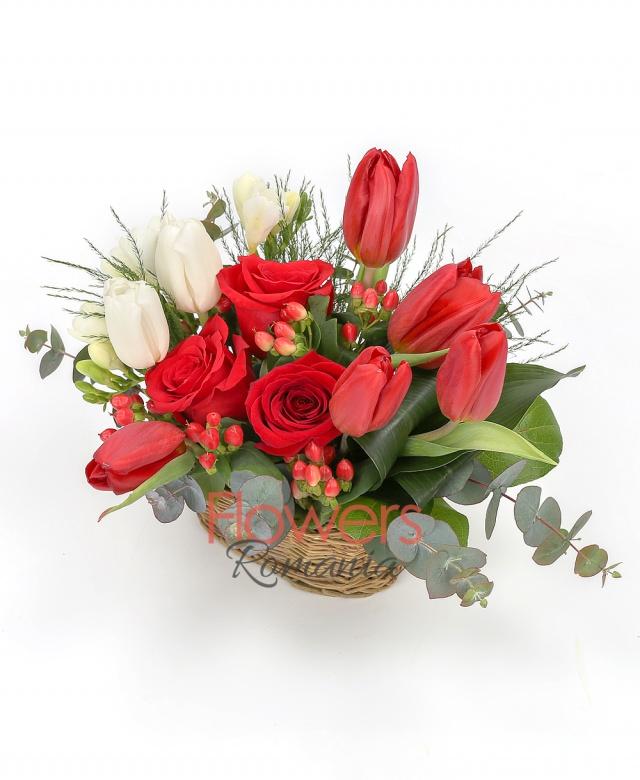 5 red tulips, 3 roses, 3 white freesias, 2 white tulips, 2 red hypericum, greenery