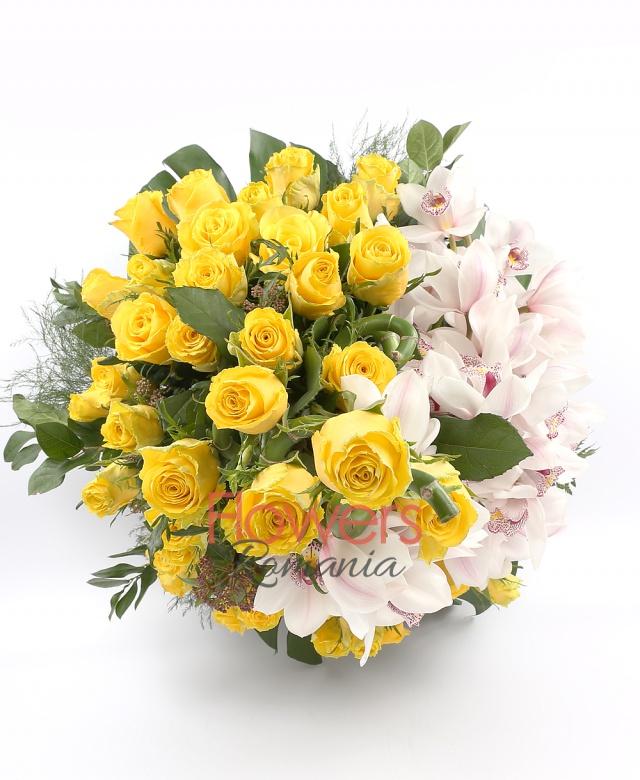 39 yellow roses, 3 white cymbidium, 3 bamboo, greenery