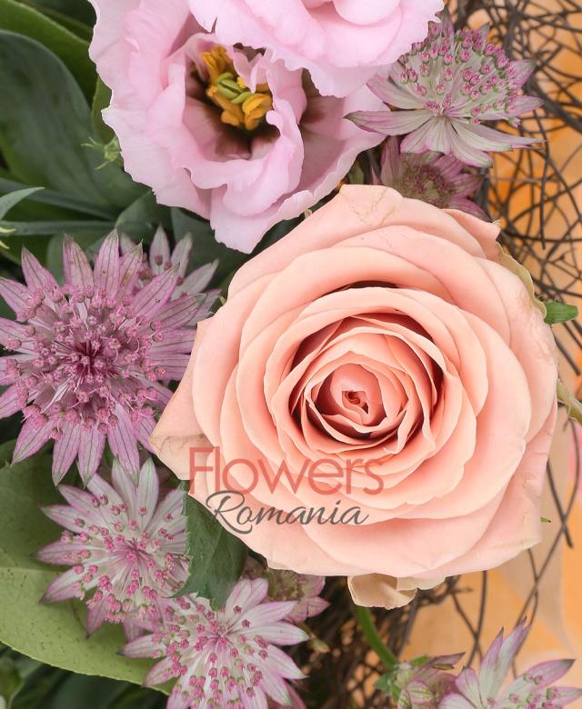 7 trandafiri cappuccino, 2 leucadendron, 3 lisianthus crem, 5 astranția rosii, salal, cuib
