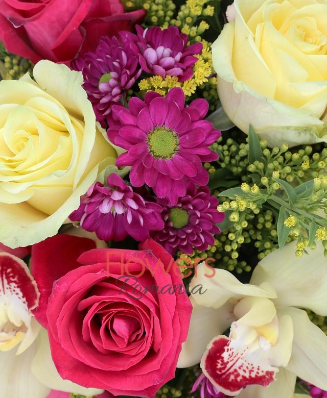 6 trandafiri galbeni, 5 trandafiri ciclam, 5 crizanteme mov, 5 solidago, cymbidium galben, cuib