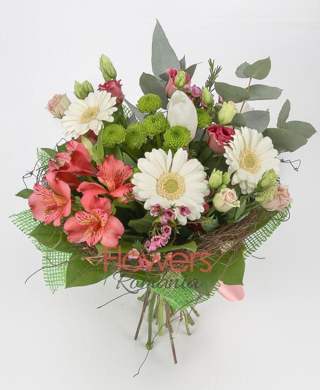 3 white gerbera, 3 white tulips, red alstroemeria, 3 pink lisianthus, green santini, pink waxflower, greenery