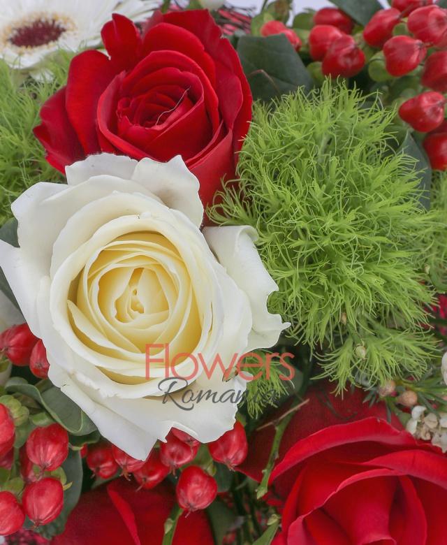 3 trandafiri rosii, 2 trandafiri albi, 3 gerbera alba, 2 hypericum roșu, 3 garoafe verzi, waxflower alb, cuib