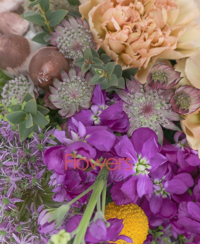 2 trandafiri cappuccino, 2 garoafe crem, 2 mathiolla mov, 2 allium, 3 craspedia, 3 zambile multicolore, 2 garoafe verzi, 2 astranția roz, bulbi lalele, ciuperci, tillandsia, eucalypt, coș