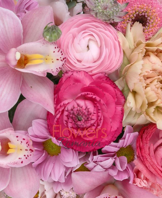 2 trandafiri cappuccino, 3 ranunculus roz, 2 gerbera roz, 3 lisianthus roz, 3 astilbe roz, 3 garoafe roz, 2 crizanteme roz, astranția, asparagus, eucalypt, cutie