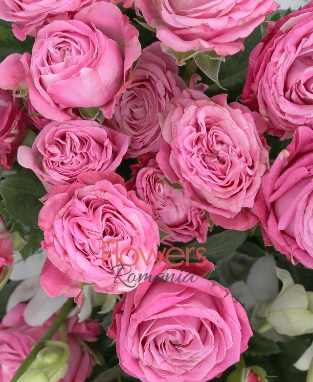 10 miniroze roz, 9 orhidee alba, salal